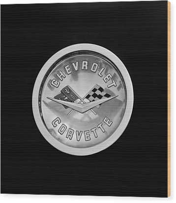 1960 Chevrolet Corvette Roadster Emblem Wood Print by Jill Reger
