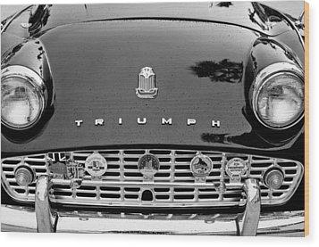 1960 Triumph Tr 3 Grille Emblems Wood Print by Jill Reger