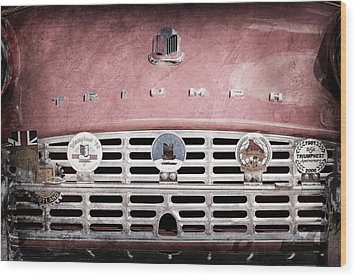 1960 Triumph Tr3 Grille Emblems Wood Print by Jill Reger