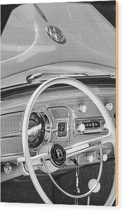 1962 Volkswagen Vw Beetle Cabriolet Steering Wheel Wood Print by Jill Reger