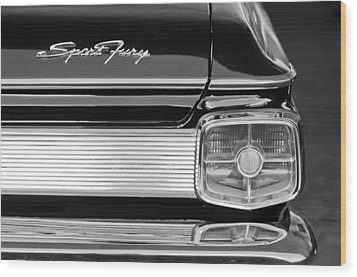 1963 Plymouth Sport Fury Taillight Emblem Wood Print by Jill Reger