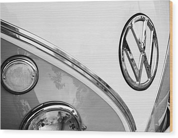 1964 Volkswagen Samba 21 Window Bus Vw Emblem Wood Print by Jill Reger