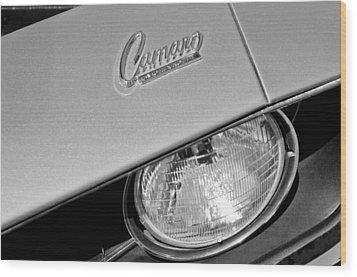 1969 Chevrolet Camaro Headlight Emblem Wood Print by Jill Reger
