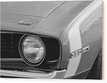 1969 Chevrolet Camaro Ss Headlight Emblems Wood Print by Jill Reger