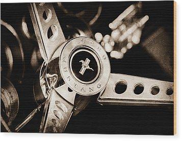 1969 Ford Mustang Mach 1 Steering Wheel Wood Print by Jill Reger