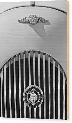 1969 Morgan Roadster Grille Emblems Wood Print by Jill Reger