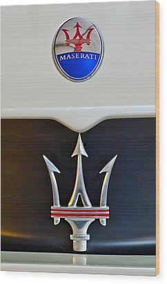 2005 Maserati Mc12 Hood Emblem Wood Print