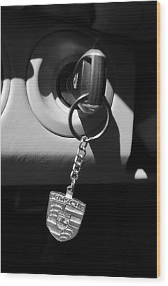 2008 Porsche Key Ring Black And White Wood Print by Jill Reger