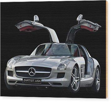 2010 Mercedes Benz Sls Gull-wing Wood Print