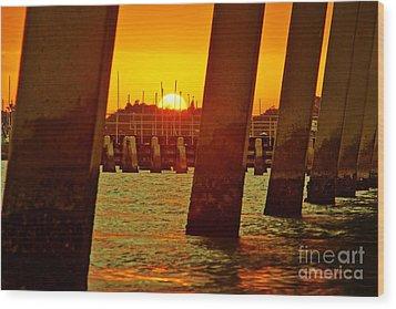 2013 First Sunset Under North Bridge 3 Wood Print by Lynda Dawson-Youngclaus