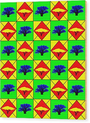 30 Acacia And Boabab Trees In South Africa Wood Print by Asbjorn Lonvig