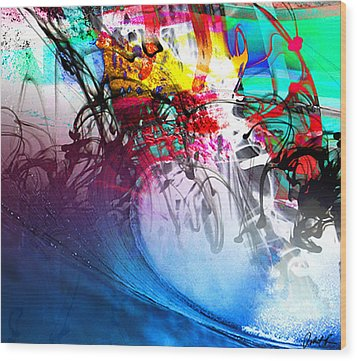 48x41 The Scream 2012 Blue Ocean Wave - - Signed Art Abstract Paintings Modern Www.splashyartist.com Wood Print