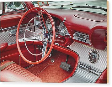 62 Thunderbird Interior Wood Print by Jerry Fornarotto