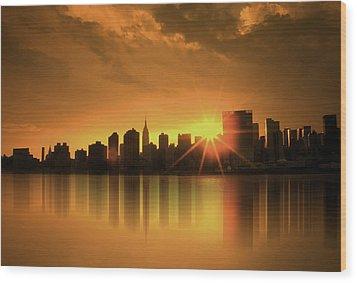 Wood Print featuring the digital art A Manhattan Sunset by Nina Bradica