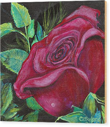 Wood Print featuring the painting A Rose For My Lily by Cathy Long