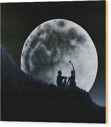 Wood Print featuring the painting A Sign Of Change Under A Full Moon Rising by Ric Nagualero