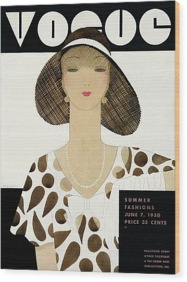 A Vintage Vogue Magazine Cover Of A Woman Wood Print by Harriet Meserole