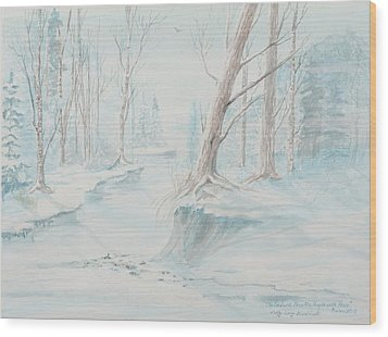 Wood Print featuring the painting A Winter Path by Cathy Long