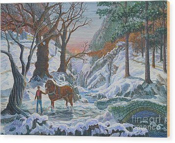 Wood Print featuring the painting A Winter Sunset by Anthony Lyon