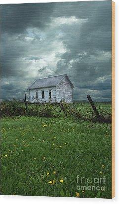 Abandoned Building In A Storm Wood Print by Jill Battaglia