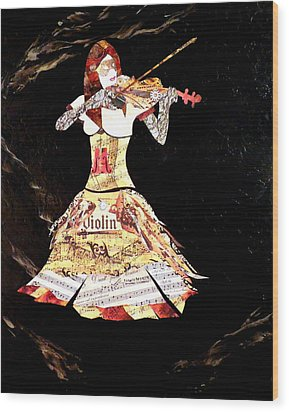 Steampunk Girl Abstract Painting Girl With Violin Fashion Collage Painting Wood Print