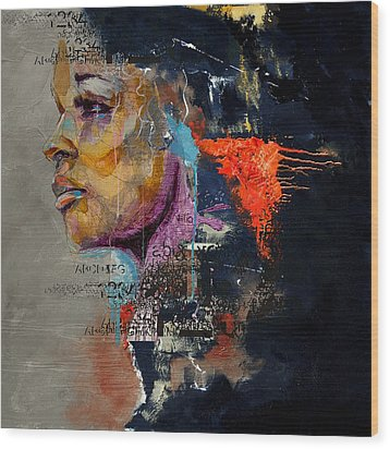 Abstract Women 015 Wood Print by Corporate Art Task Force