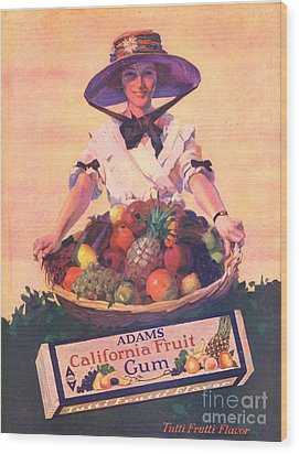 Adams California Fruit Gum 1910s Usa Wood Print by The Advertising Archives
