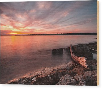 Adriatic Sunset II Wood Print by Davorin Mance