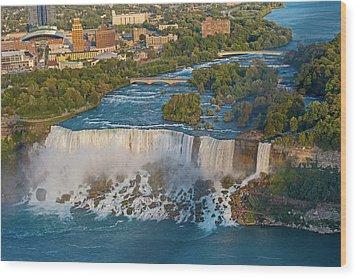 Aerial View On Niagara Falls From Skylon Tower Wood Print by Marek Poplawski