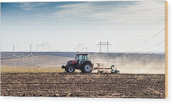 Agriculture Tractor Landscape Wood Print by Daniel Barbalata
