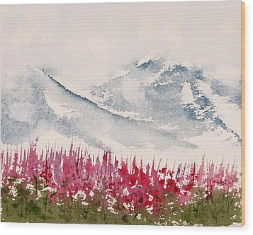 Alaska Fireweed  Wood Print by Carolyn Doe