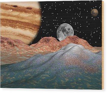 Alien Sky Wood Print by Michele Wilson