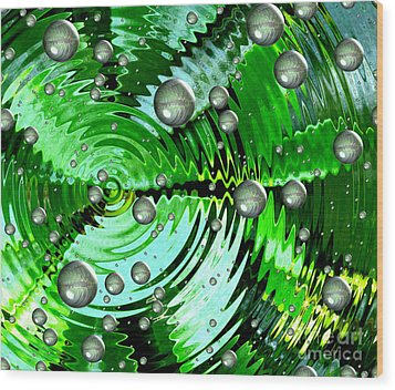 Amazing. Abstract Art. Green Grey  Blue Yellow  Wood Print