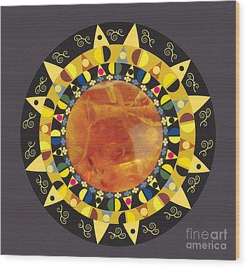 Wood Print featuring the digital art Amber Mandala by Kim Prowse