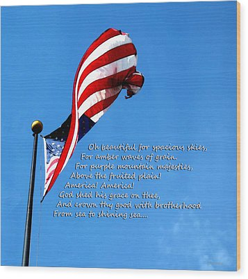 America The Beautiful - Us Flag By Sharon Cummings Song Lyrics Wood Print by Sharon Cummings