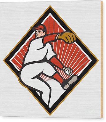 American Baseball Pitcher Throwing Ball Cartoon Wood Print by Aloysius Patrimonio