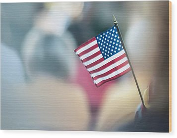 American Flag Wood Print by Alex Grichenko