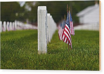 Wood Print featuring the photograph American Flag by Jerry Gammon