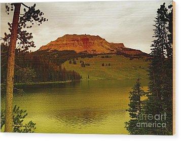 An Alpine Lake Wood Print by Jeff Swan