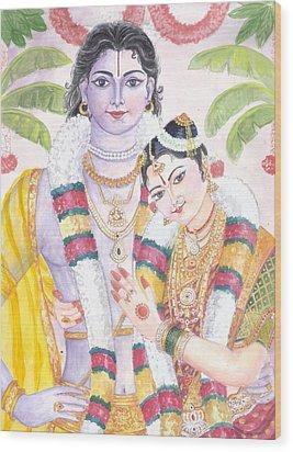 Andal Krishna Wood Print by Parimala Devi Namasivayam
