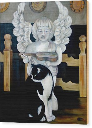 Andy And The Angel Wood Print