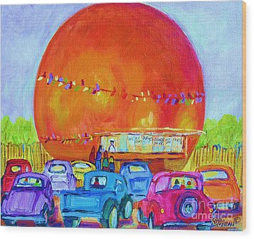Wood Print featuring the painting Antique Cars At The Julep by Carole Spandau