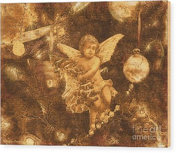Wood Print featuring the photograph Antiqued Angel Gold by Roxy Riou