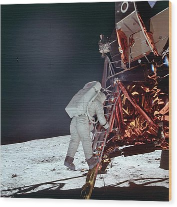 Apollo 11 Moon Landing Wood Print