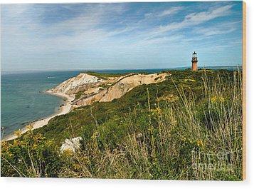 Aquinnah Gay Head Lighthouse Marthas Vineyard Massachusetts Wood Print by Michelle Wiarda