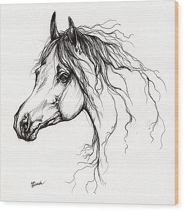 Arabian Horse Drawing 37 Wood Print by Angel  Tarantella