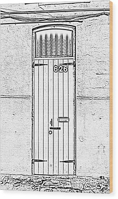 Arched Doorway French Quarter New Orleans Photocopy Digital Art Wood Print by Shawn O'Brien