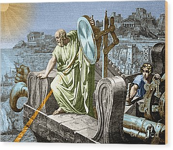 Archimedes Heat Ray Siege Of Syracuse Wood Print by Science Source