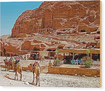 Area In Front Of Tombs Of The Kings In Petra-jordan Wood Print by Ruth Hager
