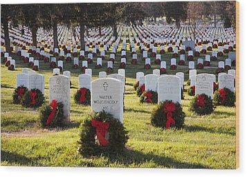 Arlington Cemetery Wreaths Wood Print